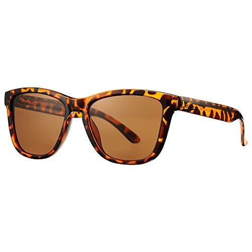 Gafas de sol polarizadas para mujeres y hombres, SCVGVER Classic Vintage Square Gafas de sol, Marrón (Marco de leopardo/lente marrón.), 54 EU