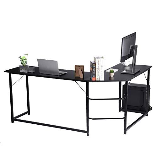 BESTSOON Escritorio en forma de L para computadora, escritorio de esquina grande, mesa de trabajo doble, mesa de estudio, escritorio de esquina con soporte de almacenamiento de CPU