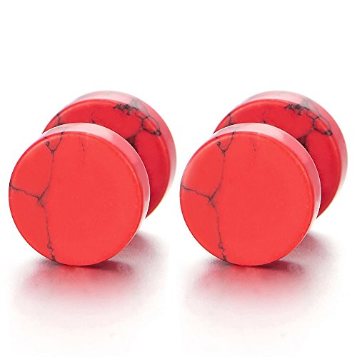 10MM Acero Inoxidable Enchufe Falso Fake Cheater Plugs Gauges, Rojo Mármol Pendientes de Hombre Mujer, Aretes, 1 Par