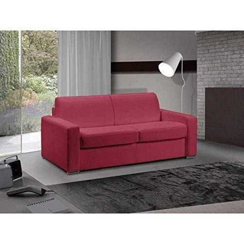 Canapé lit 3-4 Places Master Convertible Ouverture RAPIDO 160 cm Cuir Eco Rouge Matelas 18 CM Inclus