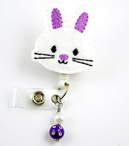 Easter Bunny Face Purple Ears - Nurse Badge Reel - Retractable ID Badge Holder - Nurse Badge - Badge Clip - Badge Reels - Pediatric - RN - Name Badge Holder