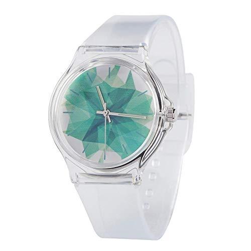 SFBBBO Reloj niño Silicona Color Caramelo Reloj para Estudiantes Reloj para niña Reloj de Pulsera para niños de Moda Reloj de Cuarzo para Mujer Transparente