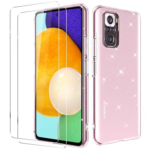 Oududianzi - Funda Compatible con Xiaomi Redmi Note 10 4G / Note 10S + [2X Protectore de Pantalla in Cristal Templado] [Funda para Parpadeo] Protectora de Silicon a Suave Ultrafina - Rosa