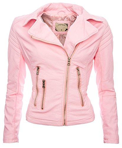 Golden Brands Selection Damen Kunstleder Jacke Sommer Übergangs Kunst Leder Jacke Jacket NEU B143 [Rosa - Gr.XL]