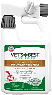 Vet's Best Flea and Tick Yard and Kennel Spray | Yard Treatment Spray Kills Mosquitoes, Fleas, and Ticks with Certified Na...