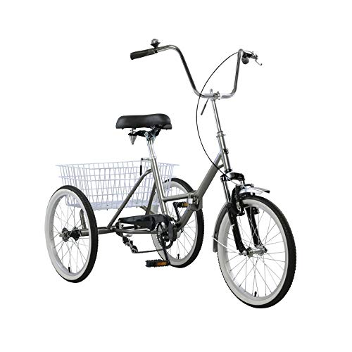 Topteng Adult Folding Tricycle Bike 3 Wheeler Bicycle Portable Tricycle 20' Wheels Gray
