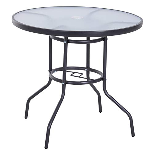 Outsunny Outdoor Round Dining Table Tempered Glass Top Steel Frame Bistro Coffee End Side Table Garden w/Parasol Hole 8