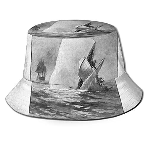 XCNGG Moby Dick Herman Melville Original Illustration Unisex Summer Sun Bucket Hat Gorra de Playa