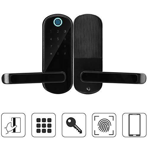 Garsent Fingerabdruck Türschloss, 5 in 1 Biometrischer Fingerprint/Numerisches Passwort/Card/Mechanischer Schlüssel/APP Steuerung Intelligentes Türschloss für Familie/Büro