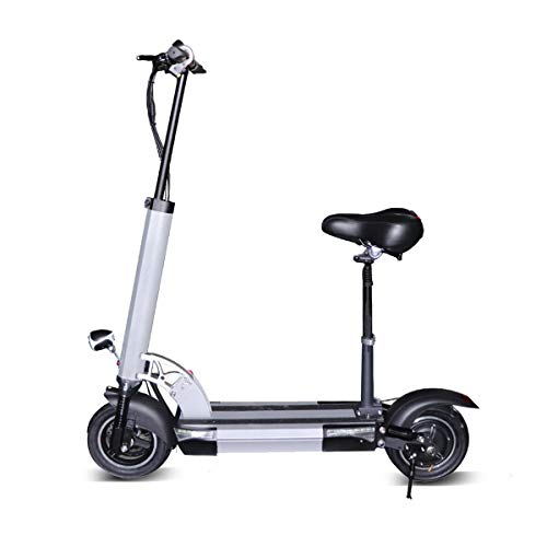 48V500W Two Wheels Electric Scooter for Adults Foldable with Removable Seat Up to 25MPH High Speed, 62.5 Miles Long-Range 26AH Lithium Battery, Charge 42v Adjustable Electric Scooters(Silver)