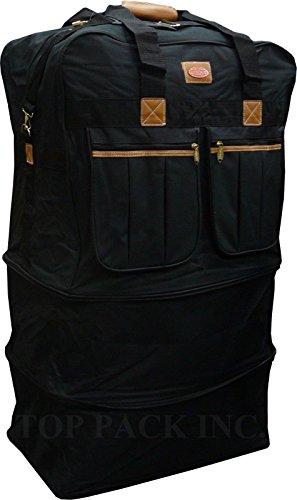 40' XXL Black Heavy Duty Polyester Rolling Wheeled Duffle Bag Suitcase Luggage