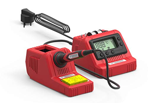 Rothenberger Industrial 1500003259 Lötstation digital, 60 W 230 V, 200-450 °C, inkl. Ersatzspitzen + Lötzinn, rot