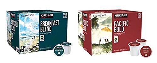 Kirkland Signature Breakfast Blend & Pacific Bold K-cup Bundle - Includes Kirkland Signature Breakfast Blend K-cup, 120 Count & Pacific Bold K-cup, 120 Count