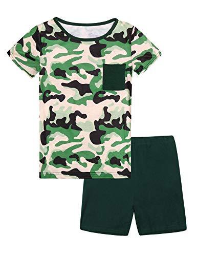 Hawiton Pijama niño Verano Corto, Manga Corta Ropa de Dormir de Camuflaje para 14-15 años(Talla 160), Camiseta con Bolsillo en el Pecho y Pantalones Corta 2 Piezas