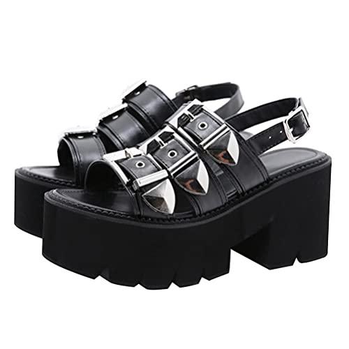 Generic Sandalias de plataforma para mujer con tacón de cuña, zapatos de verano con hebilla y puntera abierta, con correa de tobillo ajustable, Black, 38 EU