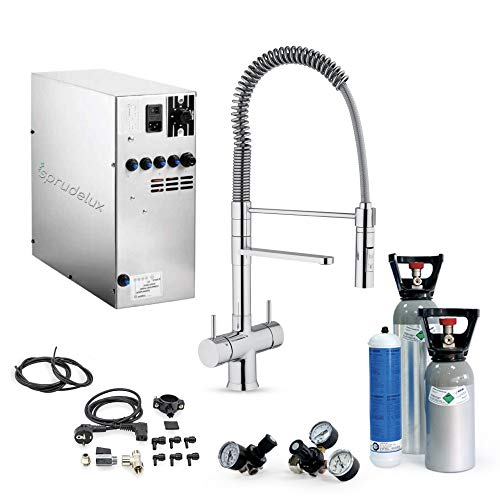 Untertisch-Trinkwassersystem SPRUDELUX INOX ohne Filtereinheit inklusive 5-Wege-Armatur Luxury + 2kg CO2 Flasche. Profi-Wassersprudler für den Privathaushalt. Spritziges Mineralwasser/Sprudelwasser