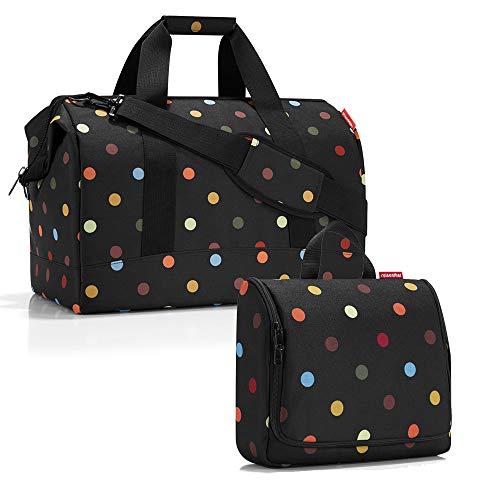 reisenthel - Set di borse da viaggio factotum, composto da un borsone di taglia L e una trousse da bagno di taglia XL Nero pois L, XL