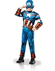 Rubies Disfraz oficial de Marvel Avengers Capitán América de lujo, disfraz de superhéroe para niños