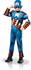 Rubie's Marvel Avengers Captain America Deluxe Child Costume - Medium Age 5-6, Height 116cm Deluxe Costume with padded muscle chest jumpsuit, 3D quilted detail, cuffs and snood Costume available in child's sizes S 3-4, M 5-6, L 7-8 and age 9-10 Rubie...