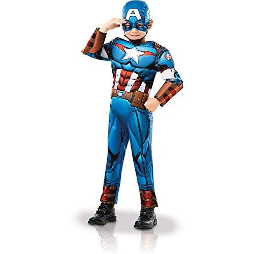 Rubie's- Ufficiale Marvel Avengers Capitan America Deluxe Costume Bambino Ragazzi, Blu, m, 640833M