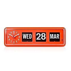 twemco Homeloo x German Quartz Retro Modern Calendar Wall Flip Clock BQ 38 (Orange)