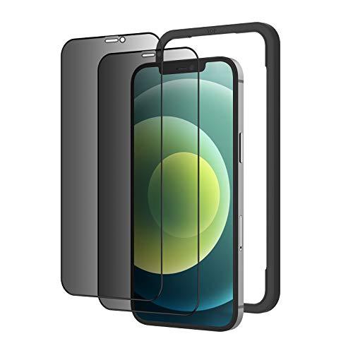 NIMASO 覗き見防止 iPhone12 / iPhone 12 Pro 用 ガラスフィルム 強化ガラス 全面保護フィルム 2枚セット