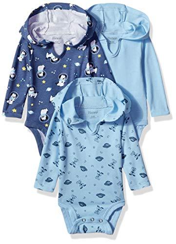 Hanes baby girls Ultimate Flexy 3 Pack Hoodie Bodysuits Bodystocking, Sky, 12-18 Months US