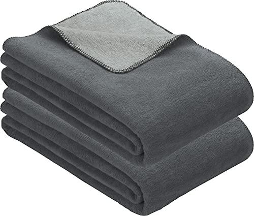 Erwin Müller Wohndecke 2er-Pack Baumwollmischung grau/Silber Größe 100x150 cm
