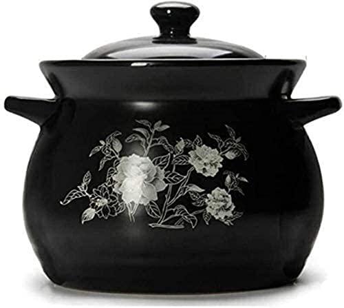 Cazuela de barro de terracota para guiso de cerámica – Estufa de gas de gran capacidad para uso doméstico, cazuela que puede hacer sopa (color: negro, tamaño: capacidad 2,85 L)