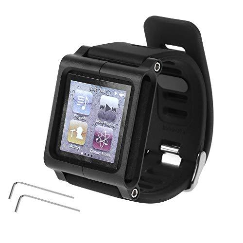 Ixkbiced Estuche de la Cubierta del Kit de muñeca de la Banda de Reloj de Metal de Aluminio Inteligente para Apple iPod Nano 6 6th