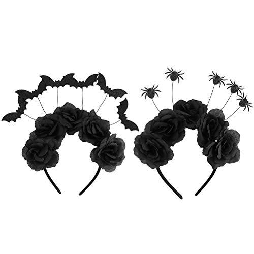 Diadema de Halloween, 2Pcs Mujeres Accesorios para el cabello Bandas para el cabello de Halloween Aros de pelo de rosa negra