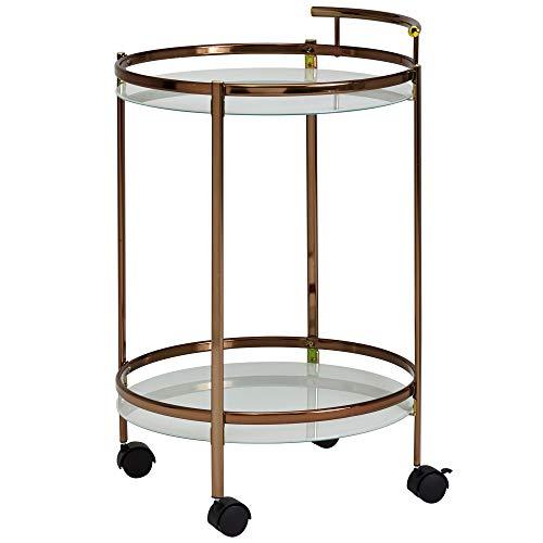 FineBuy Design Servierwagen Gold Rund Ø 50cm 2 Ebenen mit Bremse | Beistelltisch auf Rollen mit Glasplatte Speisewagen | Küchenwagen | Teewagen