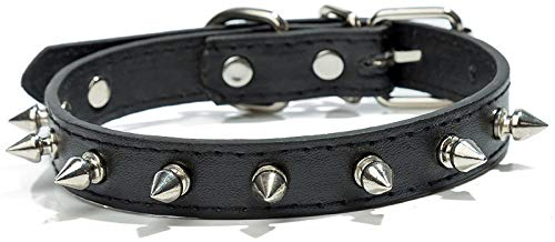 DHGTEP Collar de Perro de Cuero de la Mascota Collar de Cuero a Prueba de Mordeduras Accesorios Correa (Color : Black, Size : 1.5x37cm)