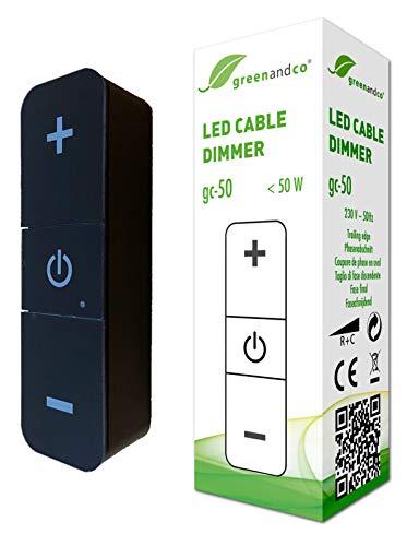 greenandco® gc-50 digitaler LED Kabeldimmer schwarz 1-50 Watt, mit Drucktasten zur stufenlosen Helligkeitsregelung, Schnurdimmer, 2 Jahre Garantie