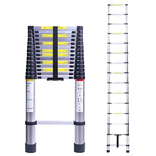 Terokota 19.7FT Collapsible Telescoping Ladders, Aluminum Extension Ladder, Lightweight Telescopic Ladders for RV, Home, Loft, Attic, 330LB Capacity