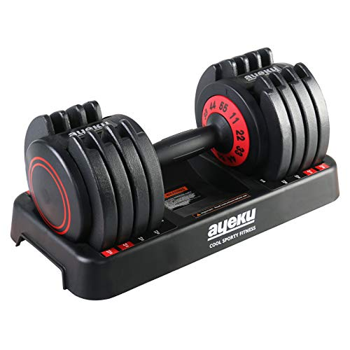 AyeKu Adjustable DumbbellsUnipack Adjustable Dumbbell Set 55lb Fast Weight Adjust by Turning Around Handle bar When You Hear a Click Convenient core Body Workout Fitness at Home Red Single
