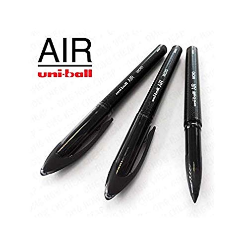 Uni-Ball Air Micro – 0,5 mm fein Tintenroller – 3 Pack – Schwarz – uba-188-m