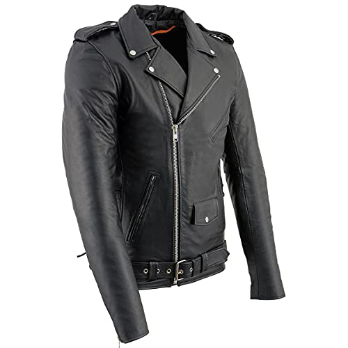 Milwaukee Leather SH1011 Tall Men's Classic Side Lace Police Style Motorcycle Leather Jacket -...