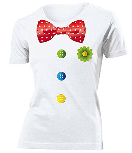 Clownkostüm Clown Kostüm Kleidung 762 Damen T-Shirt Frauen Karneval Fasching Faschingskostüm Karnevalskostüm Paarkostüm Gruppenkostüm Weiss S