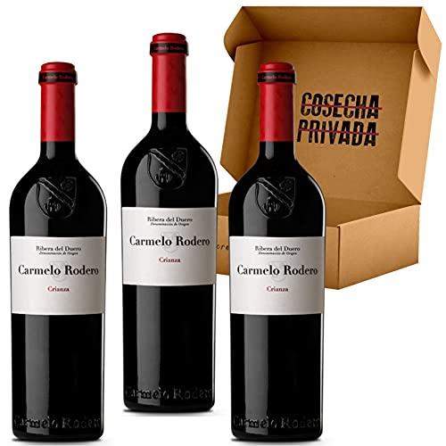 Carmelo Rodero Crianza - 3 Botellas - Estuche Vino Ribera del Duero - Lote 3 botellas x 0,75cl - Seleccionado y enviado en caja con protección de Cosecha Privada