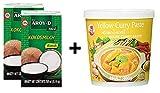 Paquete de 2 Leche de coco AROY-D [2x 250ml] Cocosmilc - Leche de coco + Cock Curry Paste amarillo 1x400g