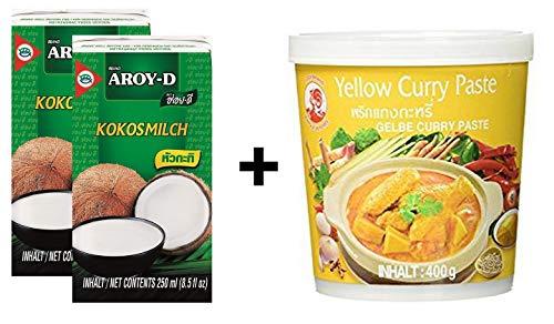 2 confezioni di latte di cocco AROY-D [2x 250ml] Cocosmilc - latte di cocco + pasta di curry al gallo giallo 1x400g