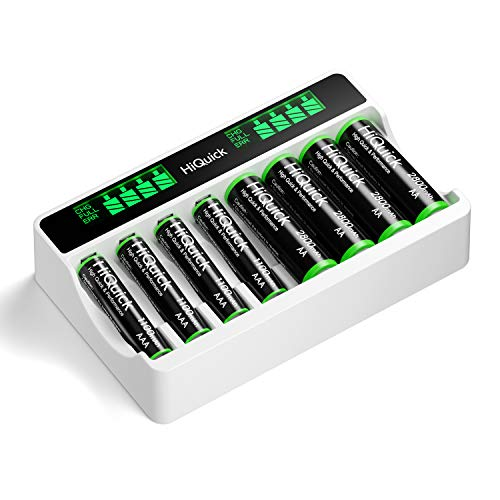 HiQuick Akku Ladegerät mit AA Akku 4 Stück + AAA Akku 4 Stück, für Mignon AA, Micro AAA NI-MH wiederaufladbar Batterien, 8-Ladeplatz mit LCD Anzeige