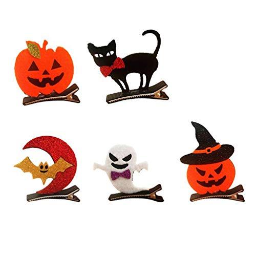 WMDHH 10pcs Horquillas de Halloween Clips Set Decorativos Dibujos Animados Ghost Bat Black Cat Pinzas para el Cabello Pin Barrettes Accesorios para el Cabello para Cosplay Fiesta de Halloween Disfraz