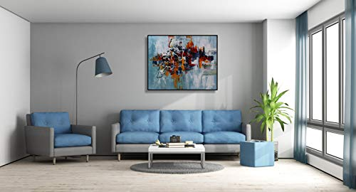 Angie Decoration Cuadro Abstracto moderno Nube Azul 100x80 cm