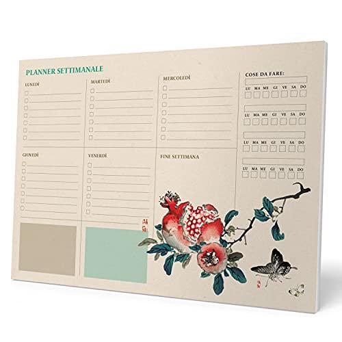 Kokonote Planning da Tavolo Japanese in italiano, con planner settimanale e 54 fogli a strappo, perfetto come agenda appuntamenti o agenda da tavolo, 29,7x21 cm