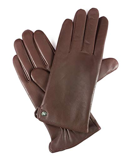 YISEVEN Womens Winter Dress Leather Gloves Touchscreen Wool Lined Flat Design Classic Genuine Sheepskin Warm Fur Lining Long Cuff Ladies Driving Work Accessories Thanksgiving Gifts, Brown Small/6.5â€