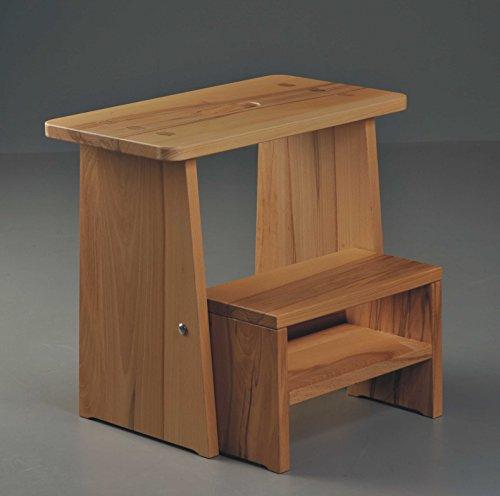Tritthocker, Sitzhocker Holz, stabil in Kernbuche Massivholz, für Kinder und die ganze Familie