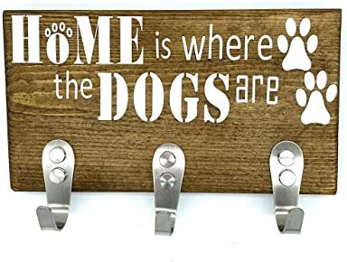 Wood Signs home decor Rustic Wall Mount Dog Leash key holder hat and coat rack 3 stainless steel product image