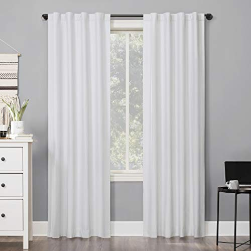 "63""x40"" Cyrus Thermal 100% Blackout Back Tab Curtain Panel White - Sun Zero"